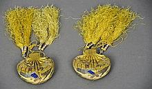 A pair of Chinese gold and silver thread worked s