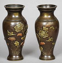 A pair of late 19th century Chinese patinated bro