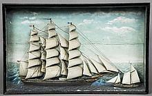 A 19th century ships diorama The glazed rectangul