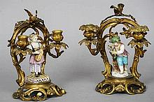 A pair of 19th century gilt bronze twin branch ca