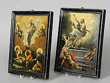 A pair of 19th century double sided Russian icons