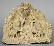 An antique Chinese stone fragment  Carved with th