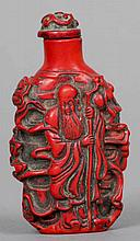 A Chinese cinnabar lacquered snuff bottle Decorat