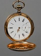 A 15 ct gold repeating hunter pocket watch The in