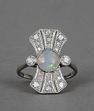 An Art Deco opal and diamond set 18 ct white gold