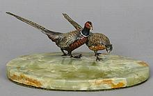 A brace of cold painted bronze model of pheasants