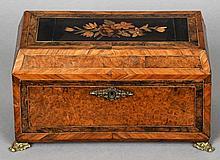 A Victorian marquetry inlaid burr walnut tea cadd