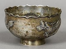 A 19th/20th century Chinese Export silver sugar bowl, possibly by Wing Nam & Co. Embossed with a dragon and inscribed The Temple Coal Trophy BPG.  11.5 cm diameter.