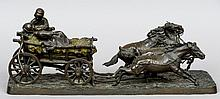 After C. GURADCO (19th/20th century) Figures in a Hay Cart Bronze Signed  46.5 long