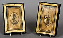 A pair of 19th century framed straw work panels Each depicting a figure at harvest.  Each 19 cm high.  (2)