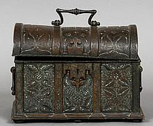 A 19th century bronze dome topped casket With all over floral and scrolling decoration with enamel jewelling, standing on flattened bun feet.  26.5 cm wide.