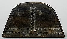 A 19th century French horn snuff box Formed as Napoleons hat, one side decorated with Napoleon's column.  8 cm wide.