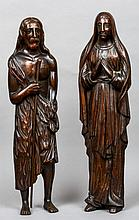 A pair of 19th century carved oak figures Formed as Jesus and the Virgin Mary.  Each 70 cm high.  (2)