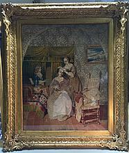 A 19th century Berlin woolwork picture Worked with figures in an interior within an elaborate gilt frame, glazed.  56 x 69.5 cm.