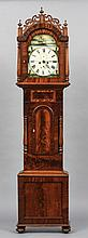 A 19th century mahogany cased eight day longcase clock The painted arched dial with Roman numerals, subsidiary seconds and date dials and signed E. Wakefield, Gateshead.  230 cm high.