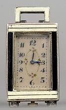 A miniature enamel decorated Sterling silver carriage clock With black and cream enamel decoration.  4.25 cm high.