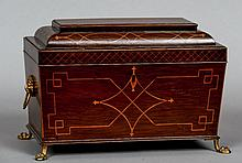 A 19th century inlaid mahogany tea caddy Of sarcophagus form, the hinged cover inset with a mirror and enclosing a pair of lidded canisters flanking a mixing bowl, standing on lion paw feet.  31 cm wide.