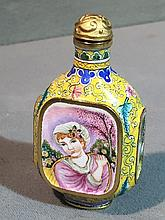 A Canton enamel snuff bottle Decorated with scenes of a European girl, the underside with blue painted four character mark.  7 cm high.