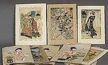 A collection of 19th century Japanese watercolours and woodblock prints Depicting various Geishas and figural scenes.  The watercolours each approximately 31 x 54 cm.