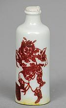 A Chinese porcelain snuff bottle Iron red painted with a warring figure and stylised bats, blue painted four character Chenghua mark to base.  6.5 cm high.