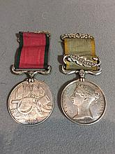 A Victorian Crimea medal with Sebastopol bar for W. CLARKE 6TH DRAGNS Together with a Turkish Crimea medal dated 1855.  (2)