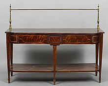A 19th century line inlaid mahogany sideboard The shaped rectangular top surmounted with brass rails, above two frieze drawers, standing on tapering square section legs with spade feet, united with an undertier.  157 cm wide.