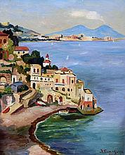 ITALIAN SCHOOL (20th century)  Bay of Naples Oil on board Indistinctly signed and inscribed 28 x 35 cm, framed