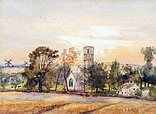 THOMAS CHURCHYARD (1798-1865) British Hasketon Church and Village Watercolour Old label to verso for Xanthus Gallery, Near Norwich 19 x 14.5 cm, framed and glazed