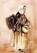 JOHN FREDERICK TAYLER (1802-1889) British Faggot Gatherer Watercolour Signed 20.5 x 29.5 cm, framed and verre eglomise glazed