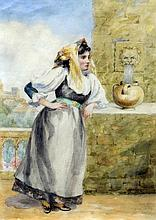 MARY A. WARDLOW (Exhibited 1886-1914) British Collecting Water Watercolour Signed with initials 24.5 x 35.5 cm, framed and glazed