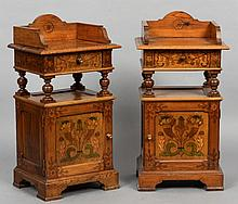 A pair of 19th century Continental poker work decorated pine pot cupboards Each with a three quarter galleried top above a single drawer and the panelled cupboard door with floral and fruiting cornucopia decoration, standing on bracket feet. Each 51