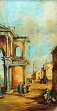 ITALIAN SCHOOL (19th century) Venetian Scenes Oils on board 18.5 x 35.5 cm, framed, (a pair) (2)