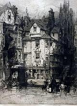 HEDLEY FITTON (1859-1929) British John Knox's House; together with City Gate Genoa Etchings Signed The larger 29.5 x 46 cm, framed and glazed  (2)
