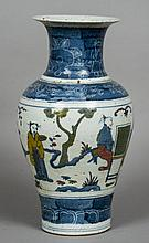 A Chinese porcelain vase Of baluster form, decorated with figures playing Go and others.  39 cm high.
