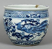 A Chinese blue and white porcelain jardiniere Decorated with a pair of phoenixes interspersed with floral sprays.  30 cm high.