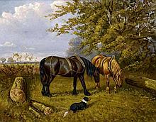 SAMUEL JOSEPH CLARK (1834-1912) British Working Horses and Dog in a Rural Landscape Oil on canvas Signed and dated 98 49.5 x 39.5 cm, framed