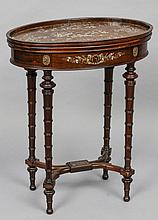 A late 19th century Chinese mother-of-pearl inlaid rosewood table The galleried oval top profusely inlaid with courtly figures and attendants amongst floral and insect fielded scrollwork, the frieze with a similarly inlaid drawer, standing on turned