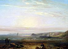 Attributed to JOHN WILSON EWBANK (1799-1847) British Coastal Sunset With Figures and Boats Oil on panel 39.5 x 29.5 cm, framed