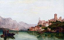 ENGLISH SCHOOL (19th century) Italian Lake Scene Oil on canvas 75 x 50 cm, framed
