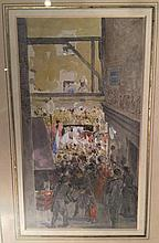 JOHN ABSOLON (1815-1895) British Procession Passing Warwick Court Off Holborn Watercolour Old label to verso for Spink, London 12 x 21.5 cm, framed and glazed