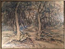 *AR LEILA LUDDINGTON (flourished circa 1930, died 1965) British In the Wood Watercolour Signed with initials, old label to verso for Wine & Spirit Art Society 31 x 23.5 cm, framed and glazed