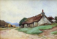 JAMES ALFRED AITKEN (1846-1897) Scottish Croft Cottage Watercolour Signed 32 x 22.5 cm, framed and glazed