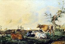 Manner of THOMAS SYDNEY COOPER (1803-1902) British Cattle at Rest Watercolour Old label to verso for Paul's Gallery, Wellingborough 37.5 x 26.5 cm, framed and glazed