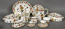 A large quantity of Royal Crown Derby Asian Rose pattern tea, coffee and dinner wares Including tea and coffee pots, tureens, meat plates, soup dishes, gravy boat, etc.  Various sizes.  (Quantity)