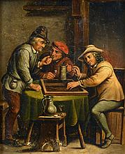 FLEMISH SCHOOL (18th/19th century) Figures in a Tavern Interior Oil on metal 15 x 18.5 cm, framed