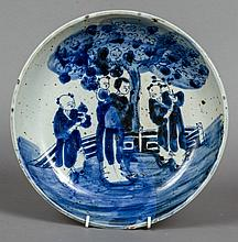 A Chinese blue and white porcelain shallow bowl Decorated with figures in a garden.  29 cm diameter.
