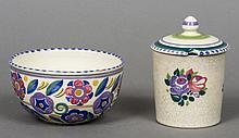 A Poole pottery preserve pot and cover, decorated by Winifred Rose Together with a Poole pottery bowl, decorated by Iris Skinner, painted and impressed marks to base.  11.5 cm high and 12.5 cm diameter respectively.  (2)