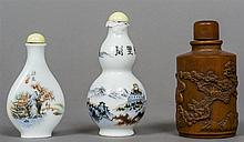 A Chinese carved wooden snuff bottle Decorated wit