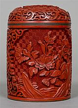 A Chinese red cinnabar lacquer box and cover Of cy