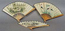 Three Oriental paper fans One depicting The Great